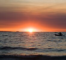 Sunset paddler - Darwin harbour by Jenny Dean