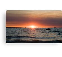Sunset paddler - Darwin harbour Canvas Print