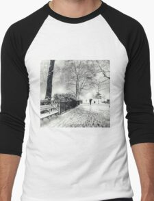 Winter Night - Madison Square Park - New York City Men's Baseball ¾ T-Shirt