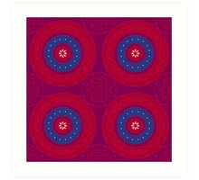 Indian red and blue pattern Art Print