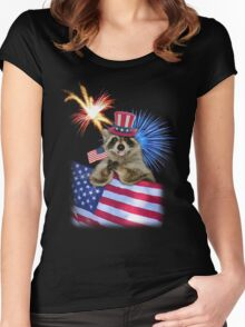 Patriotic Raccoon Women's Fitted Scoop T-Shirt