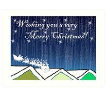 Christmas Card of santa on the rooftops Art Print
