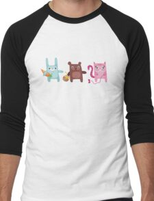 Bunny Bear Kitty Cuties Men's Baseball ¾ T-Shirt