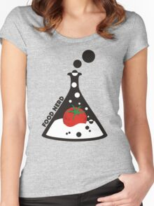 Funny food nerd tomato chemistry beaker Women's Fitted Scoop T-Shirt