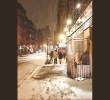 Winter Night - Snow on the Lower East Side - NYC Womens Fitted T-Shirt