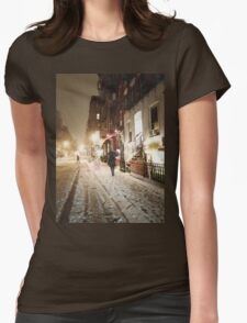 Snowy Night - Lower East Side - New York City Womens Fitted T-Shirt