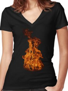 Flaming Cauldron Women's Fitted V-Neck T-Shirt