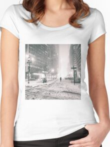 New York City - Winter - Empty Streets Women's Fitted Scoop T-Shirt