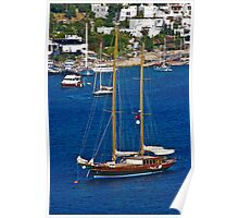 Sailing boat on blue water Poster