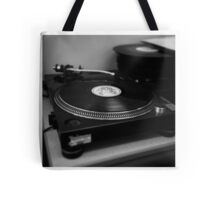 Black and white record player Tote Bag