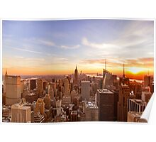 New York City Skyline - Skyscrapers at Sunset Poster