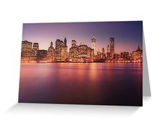 New York City Night Skyline Greeting Card