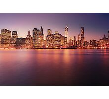 New York City Night Skyline Photographic Print