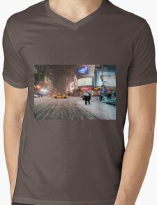 Times Square in the Snow - Winter in NYC Mens V-Neck T-Shirt