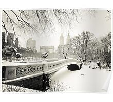 Winter - Central Park - Bow Bridge - New York City Poster