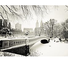 Winter - Central Park - Bow Bridge - New York City Photographic Print