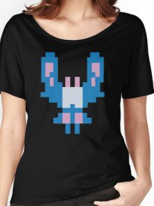 Blue Space Bug Classic 80s Arcade  Women's Relaxed Fit T-Shirt