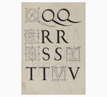 Measurement With Compass Line Leveling Albrecht Dürer or Durer 1525 0134 Alphabet Letters Calligraphy Font Kids Tee