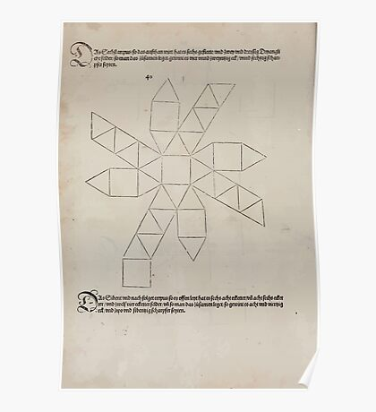 Measurement With Compass Line Leveling Albrecht Dürer or Durer 1525 0154 Repeating and Folding Shapes Poster