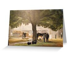 Thoroughbreds at Early Dawn, Saratoga Greeting Card
