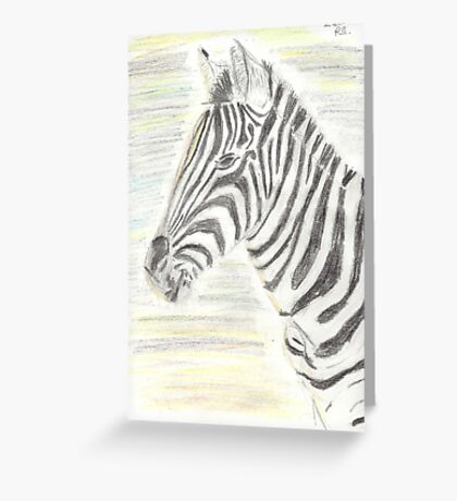 zebra - coloured pencil Greeting Card