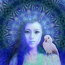 Guan-yin and the white parrot by Bill Brouard