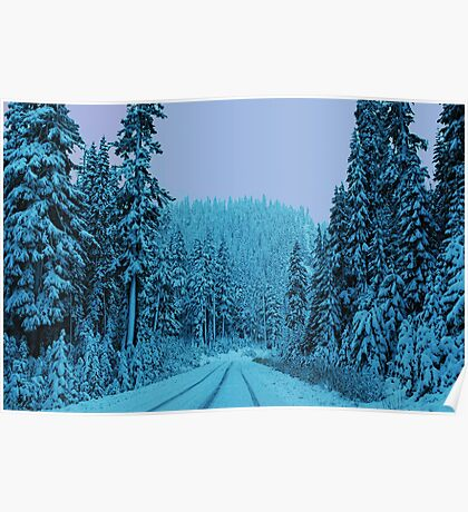 Scenic Snowy Drive Poster