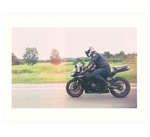 Man on Motorcycle Art Print