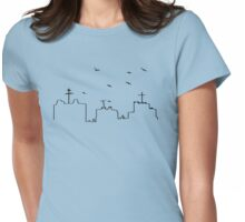Birds Flying Over City Skyline Womens Fitted T-Shirt