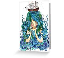 Blue Tresses Greeting Card