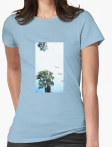 Dream-like Palm and Pelicans Flying Overhead Womens Fitted T-Shirt