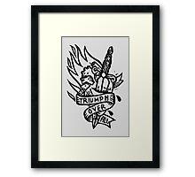 Dagger and Heart - Black Framed Print