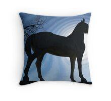 White Horse - Silhouette Throw Pillow