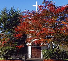 Small church in the fall by Kathy Yates