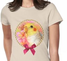 Cockatiel with frangipani Womens Fitted T-Shirt