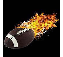 Flaming FootBall Photographic Print