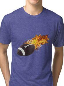 Flaming FootBall Tri-blend T-Shirt