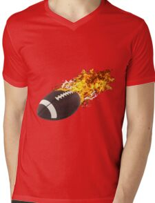 Flaming FootBall Mens V-Neck T-Shirt