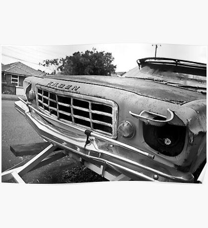 Rusty Car b&w Poster
