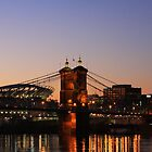 Cincinnati Stadium and Roebling Bridge by Tony Wilder