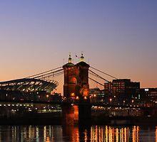 Cincinnati Stadium and Roebling Bridge by Tony Wilder