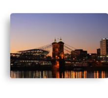 Cincinnati Stadium and Roebling Bridge Canvas Print