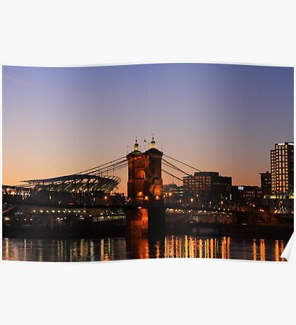 Cincinnati Stadium and Roebling Bridge Poster