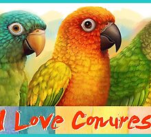 Sun blue-crowned green-cheeked conures realistic painting by lifewithbirds