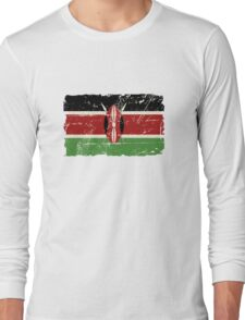 Kenya Flag - Vintage Look Long Sleeve T-Shirt