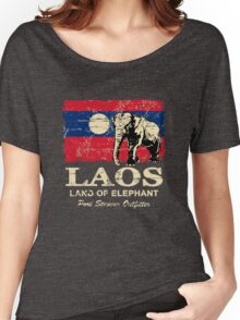 Laos Elephant Flag - Vintage Look Women's Relaxed Fit T-Shirt