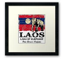 Laos Elephant Flag - Vintage Look Framed Print