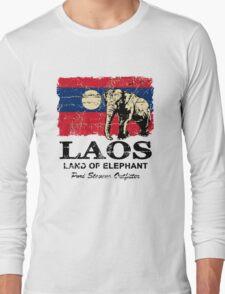 Laos Elephant Flag - Vintage Look Long Sleeve T-Shirt