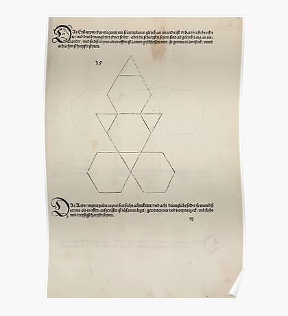 Measurement With Compass Line Leveling Albrecht Dürer or Durer 1525 0149 Repeating and Folding Shapes Poster