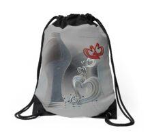Grey Zing Hearts © Vicki Ferrari Drawstring Bag
